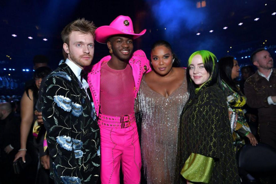 From+left%2C+Billie+Ellish%2C+Lizzo%2C+Lil+Nas+X%2C+Finneas+at+the+2020+Grammy%27s.